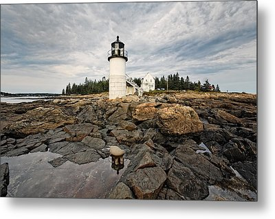 Low Angle View Of The Marshall Point Lighthouse Maine Metal Print by George Oze