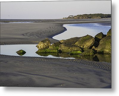 Low Tide On Tybee Island Metal Print