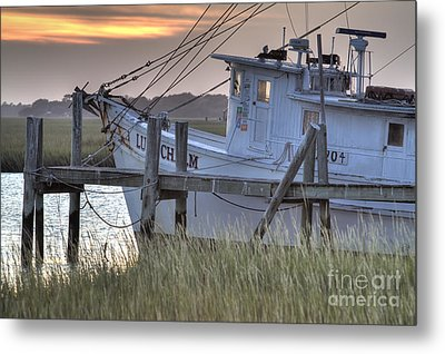Lowcountry Shrimp Boat Sunset Metal Print by Dustin K Ryan