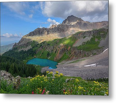 Metal Print featuring the photograph Lower Blue Lake And Mt. Sneffels by Aaron Spong
