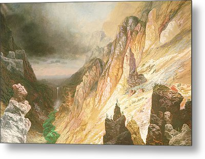 Lower Falls, Grand Canyon Of The Yellowstone River Metal Print by Charles H Chapin