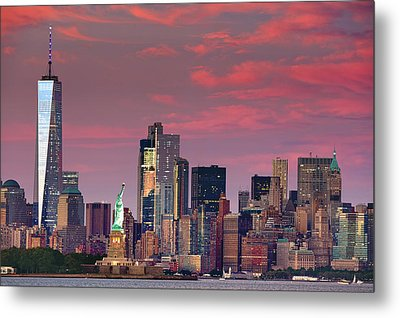 Metal Print featuring the photograph Lower Manhattan In Pink by Emmanuel Panagiotakis