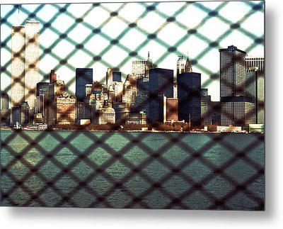 Lower Manhattan Through The Fence Metal Print by Kellice Swaggerty