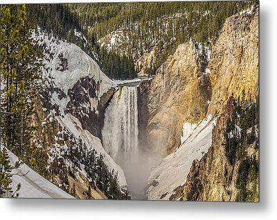 Metal Print featuring the photograph Lower Yellowstone Falls In Winter by Yeates Photography