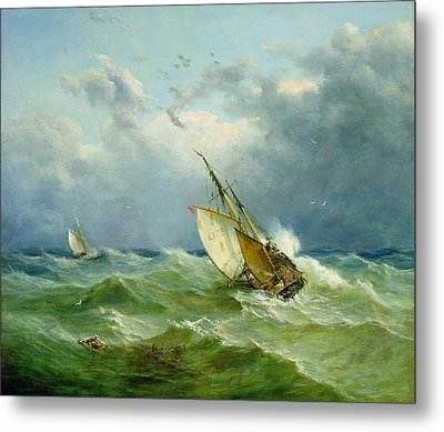 Lowestoft Trawler In Rough Weather Metal Print by John Moore
