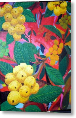 Metal Print featuring the painting Lowquats In Hot Spring by Hilda and Jose Garrancho