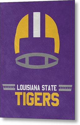 Lsu Tigers Vintage Football Art Metal Print