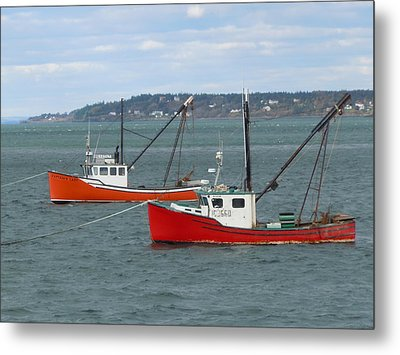 Metal Print featuring the photograph Lubec Lobster Boats by Francine Frank
