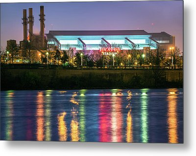 Lucas Oil Stadium Lights On The White River   Metal Print