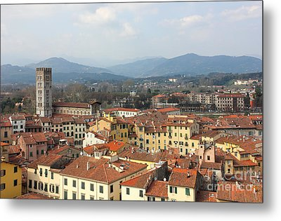Lucca Aerial Panoramic View With Piazza Dell' Anfiteatro Metal Print by Kiril Stanchev