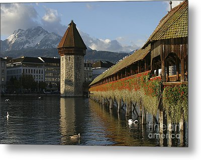 Lucerne At Sunup Metal Print by Stan and Anne Foster