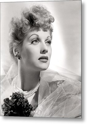 Lucille Ball Portrait With Gauze, 1940s Metal Print by Everett