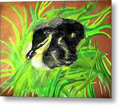Metal Print featuring the painting Lucky Duckling by Rebecca Wood
