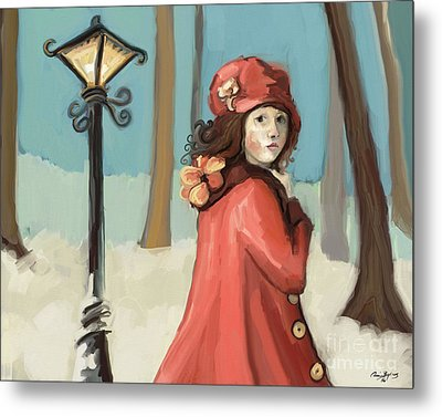 Girl In The Snow Metal Print