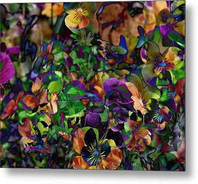 Lucy In Sky Pansies Metal Print