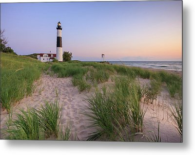 Ludington Beach And Big Sable Point Lighthouse Metal Print by Adam Romanowicz