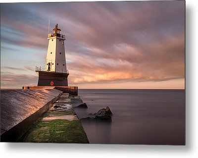 Metal Print featuring the photograph Ludington Light Sunrise Long Exposure by Adam Romanowicz