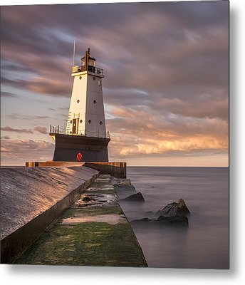 Metal Print featuring the photograph Ludington North Breakwater Light At Dawn by Adam Romanowicz