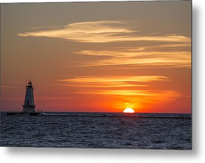 Metal Print featuring the photograph Ludington North Breakwater Light At Sunset by Adam Romanowicz