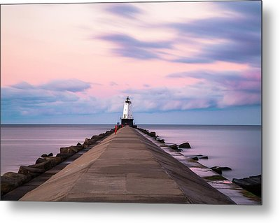 Metal Print featuring the photograph Ludington North Breakwater Light Sunrise by Adam Romanowicz