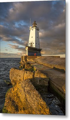 Metal Print featuring the photograph Ludington North Breakwater Lighthouse At Sunrise by Adam Romanowicz