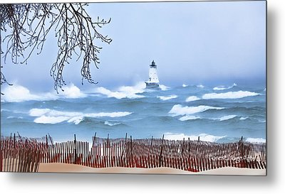 Ludington Winter Shore  Metal Print by Dick Bourgault