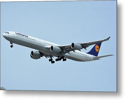 Metal Print featuring the photograph Lufthansa Airbus A340-600 D-aihw Los Angeles International Airport May 3 2016 by Brian Lockett