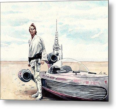 Luke Skywalker On Tatooine Star Wars A New Hope Metal Print