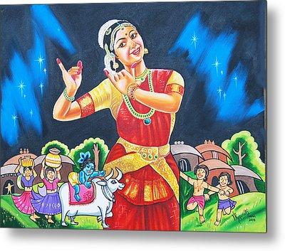 Metal Print featuring the painting Lullaby Of Lord Krishna by Ragunath Venkatraman