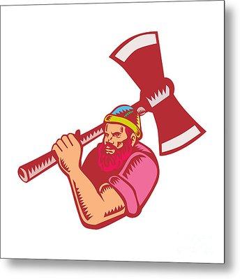 Lumberjack Axe Woodcut Metal Print by Aloysius Patrimonio