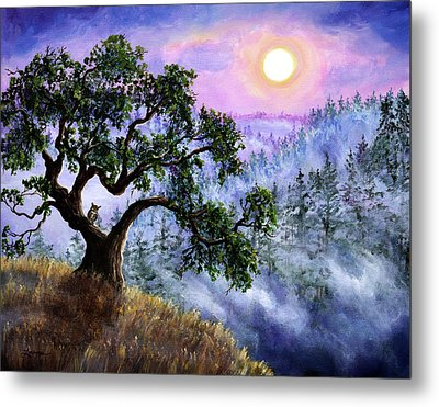 Luna In Mist And Fog Metal Print by Laura Iverson