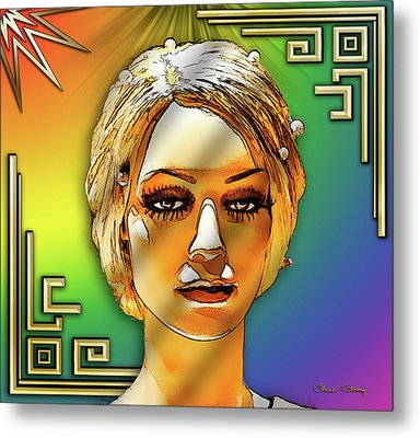 Metal Print featuring the digital art Luna Loves Deco by Chuck Staley