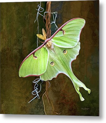 Metal Print featuring the digital art Luna Moth by Thanh Thuy Nguyen