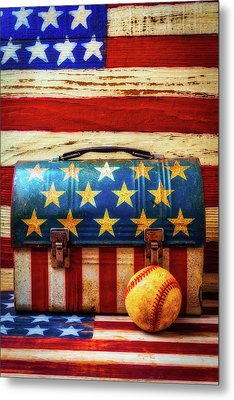 Lunch Pail And Baseball Metal Print by Garry Gay