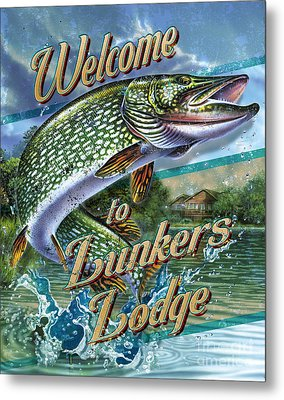 Lunkers Lodge Sign Metal Print by Jon Q Wright
