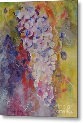 Metal Print featuring the painting Luscious Grapes by Mary Haley-Rocks