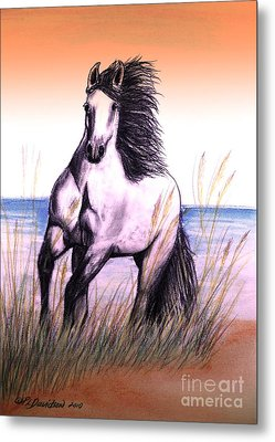 Lusitano Thunder By The Sea Metal Print by Patricia L Davidson