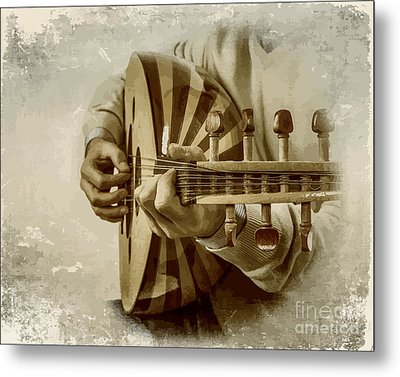 Grey Lutenist Metal Print