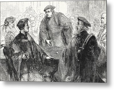 Luther And Zwingle Discussing At Marburg Metal Print by English School