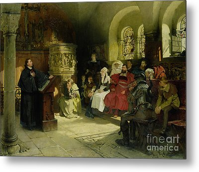 Luther Preaches Using His Bible Translation While Imprisoned At Wartburg Metal Print