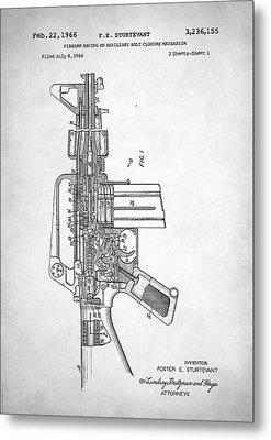Metal Print featuring the digital art M-16 Rifle Patent by Taylan Apukovska