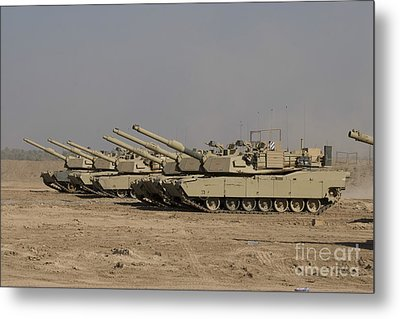 M1 Abrams Tanks At Camp Warhorse Metal Print by Terry Moore
