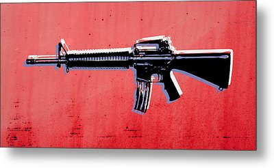 M16 Assault Rifle On Red Metal Print by Michael Tompsett