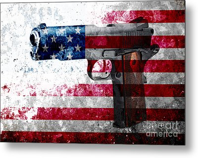 M1911 Colt 45 And American Flag On Distressed Metal Sheet Metal Print