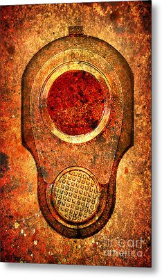 M1911 Muzzle On Rusted Background - With Red Filter Metal Print