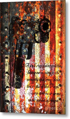 M1911 Pistol And Second Amendment On Rusted American Flag Metal Print