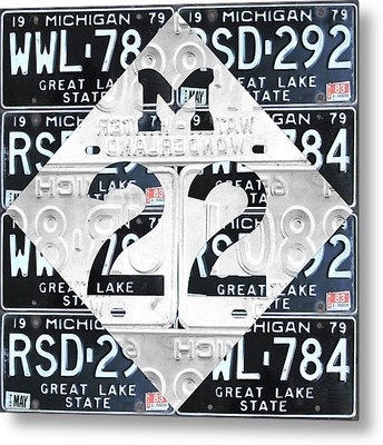 M22 Michigan Highway Symbol Recycled Vintage Great Lakes State License Plate Logo Art Metal Print by Design Turnpike