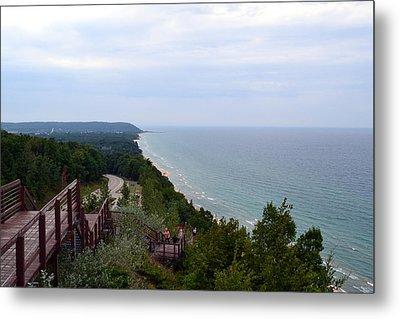 M22 Scenic Lake Michigan Overlook  Metal Print by Michelle Calkins