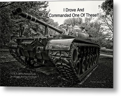 M48 Patton Tank Front View Custom Text Metal Print by Thomas Woolworth