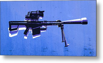M82 Sniper Rifle On Blue Metal Print by Michael Tompsett